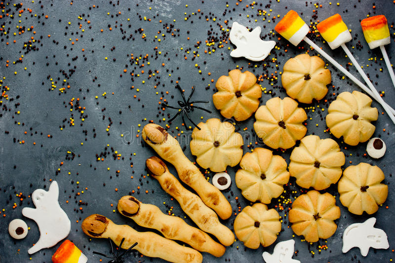 Halloween cookies sweets and treats background royalty free stock images