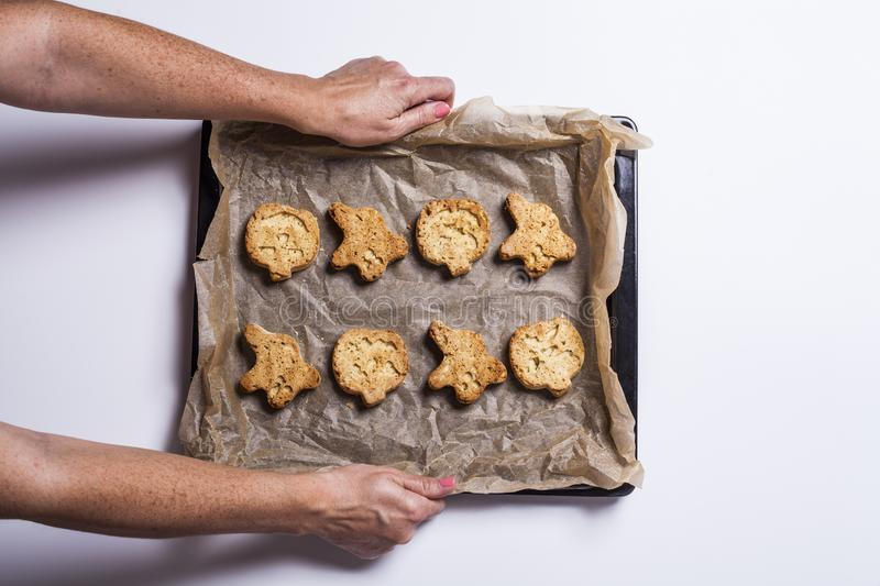 Halloween cookies. Woman& x27;s hands holding a tray of halloween cookies freshly baked from the oven royalty free stock image
