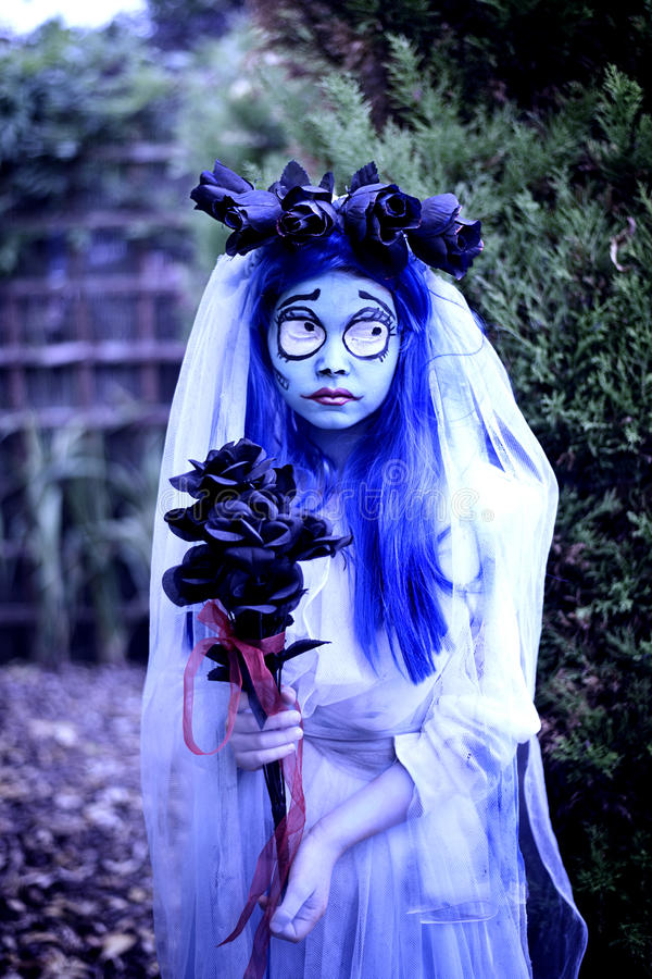 Halloween corspe bride. Girl in Corpse bride costume for Halloween party royalty free stock images