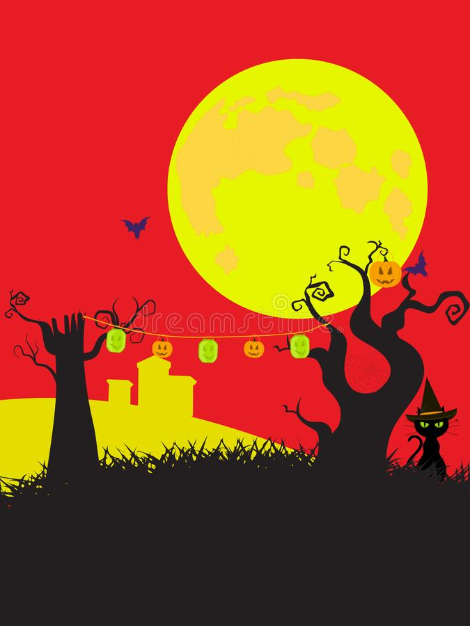 Halloween cortoons style black yellow and red background royalty free illustration