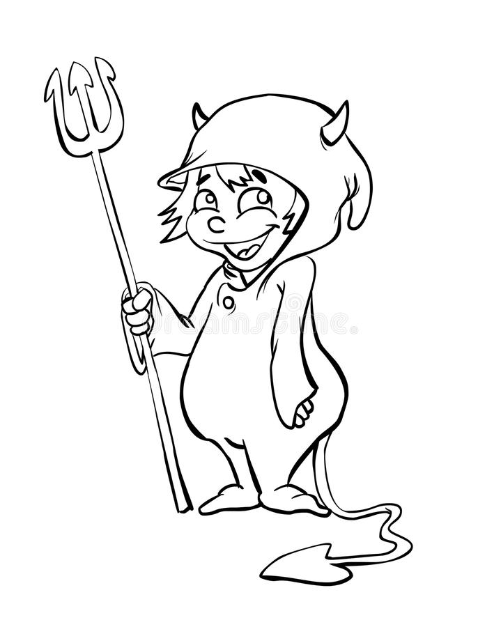 Halloween costume. Cartoon character is wearing halloween costume line art royalty free illustration