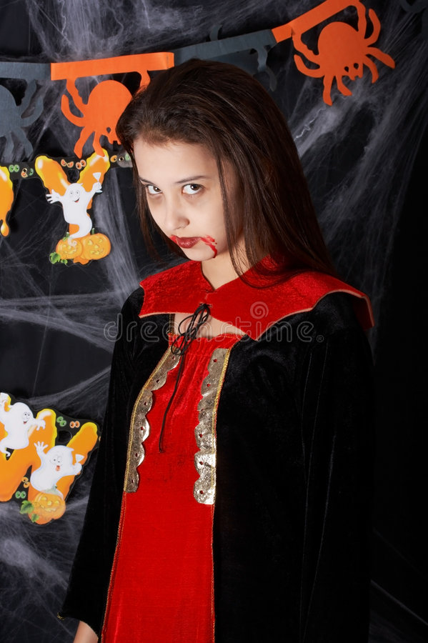 Halloween costume. A young female dressed in a halloween costume stock images