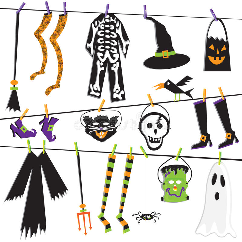 Halloween Costume Clothesline Clip Art vector illustration