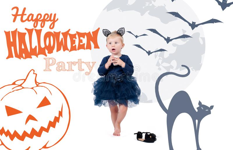Halloween costume. LLittle toddler girl in costume cat stock images