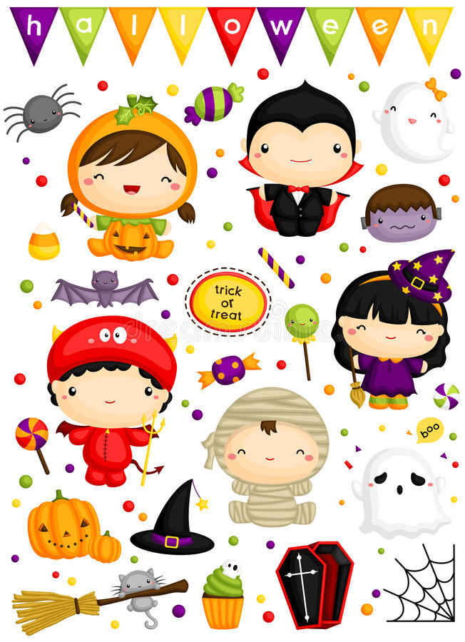 Halloween Costume vector set stock illustration