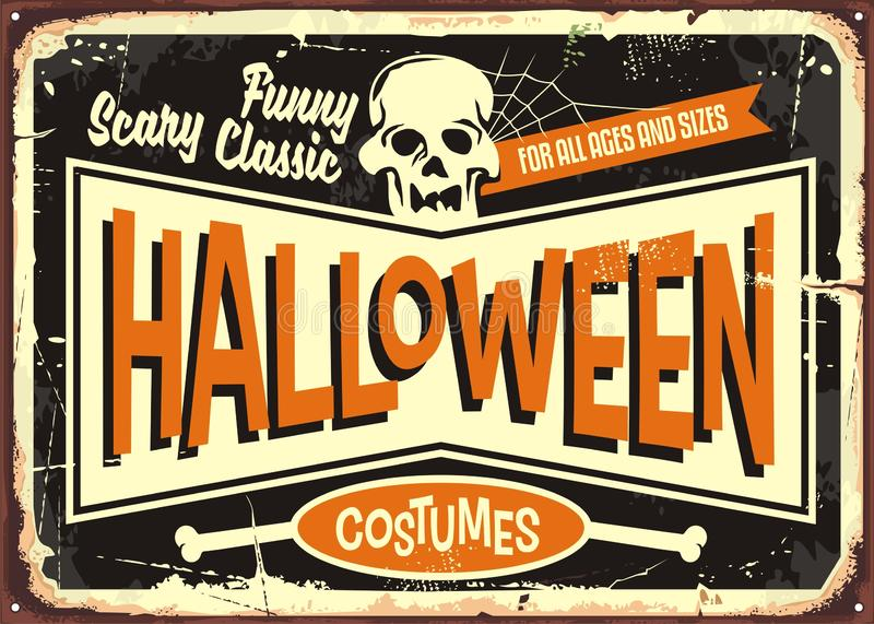 Halloween costumes retro shop sign. Board. Vintage Halloween poster card with skull on black background vector illustration
