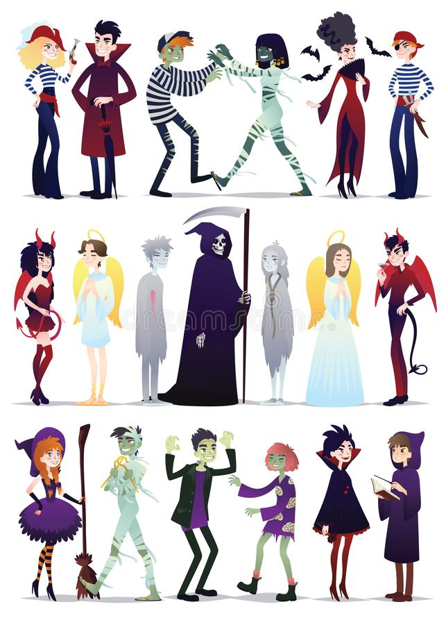 Halloween costumes. Vector illustration of young people dressed up for Halloween masquerade party isolated on white vector illustration