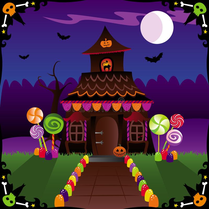 Halloween Cottage stock illustration