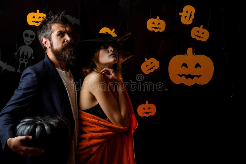 Halloween coule. Witch vampire concept. couple in Halloween costume. People wearing hallowwen carnival stock photos