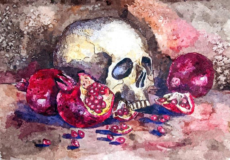 Halloween, cráneo Acuarela mojada de pintura en el papel Arte ingenuo Acuarela del dibujo en el papel stock de ilustración