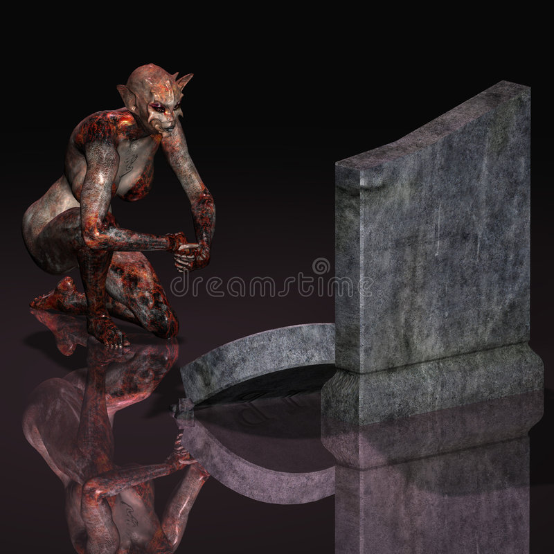 Halloween Creature #02. Fantasy creature at the graveyard Halloween Motive With Clipping Path / Cutting Path vector illustration