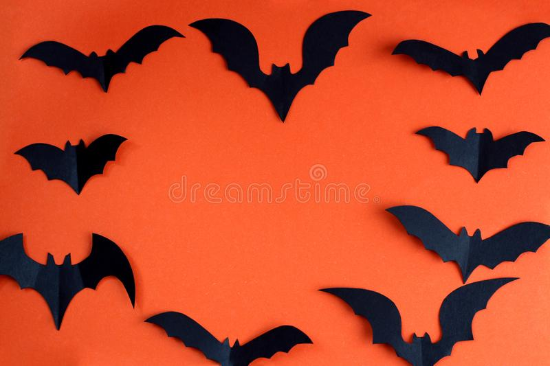 Halloween holiday concept with paper black bats. Halloween, creature, autumn, background picture, , black, character,, schematic diagram, creepy, decor royalty free stock photo