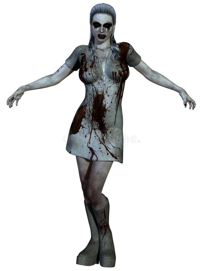 Halloween Creature - Bloody Nurse. 3d render of a bloody nurse vector illustration