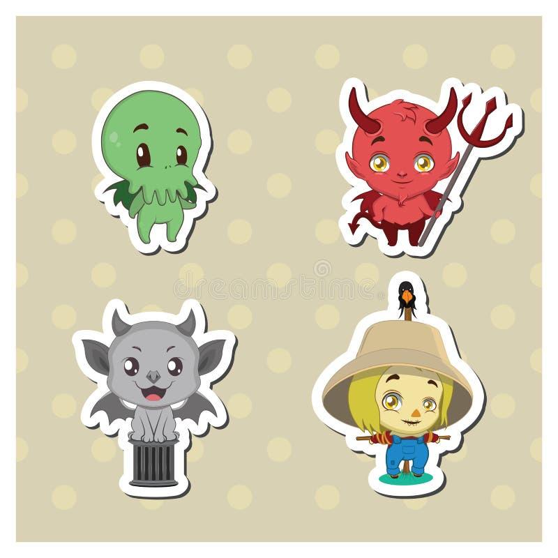 Halloween creatures sticker set royalty free illustration