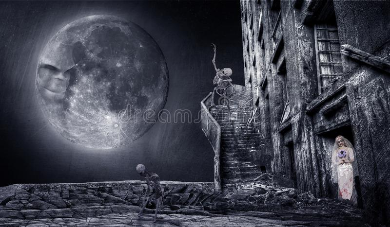 Halloween creepy background with skeletons  and moon royalty free stock images