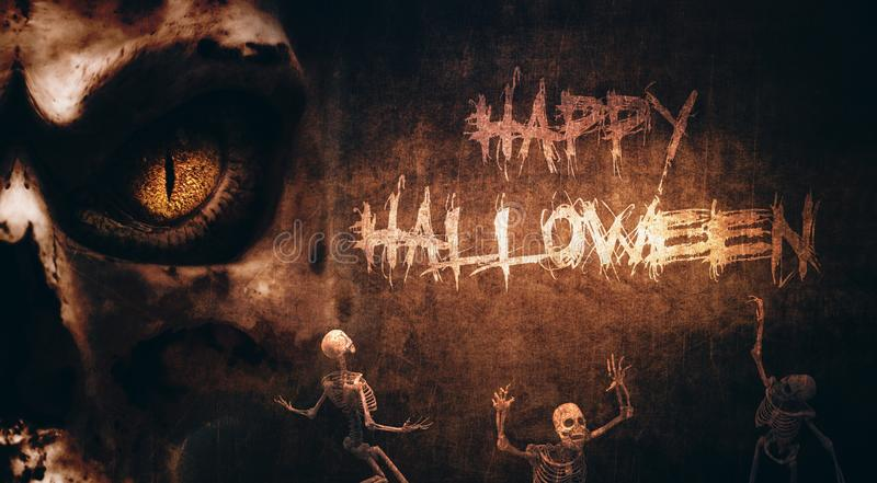 Halloween creepy background with skeletons stock image