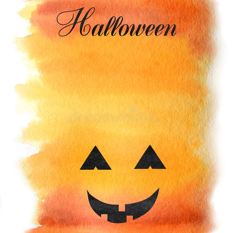Halloween creepy face Watercolor hand painted abstract brush strokes pattern. Yellow orange red gradient background royalty free illustration