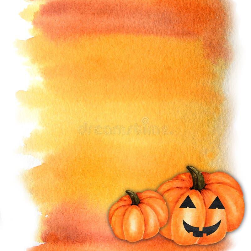 Halloween creepy pompkin Watercolor dipinto come un esempio di pennello astratto. Sfondo sfumatura rossa arancione gialla fotografie stock