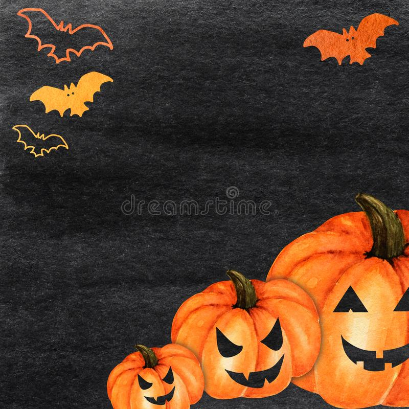 Free Halloween Creepy Pumpkin And Bat Watercolor Hand Painted Abstract Brush Strokes Pattern. Black Background. Greeting Card Royalty Free Stock Images - 158108079