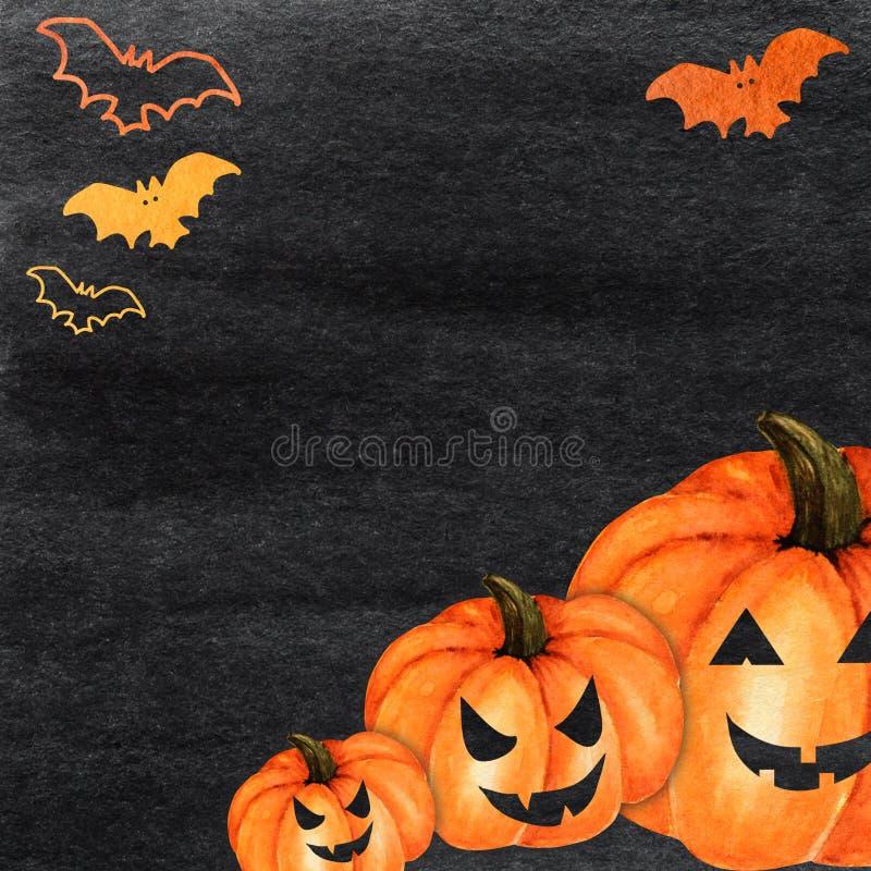 Halloween creepy pumpkin and bat Watercolor hand painted abstract brush strokes pattern. Black background. Greeting card. Halloween creepy pumpkin and bat royalty free stock images