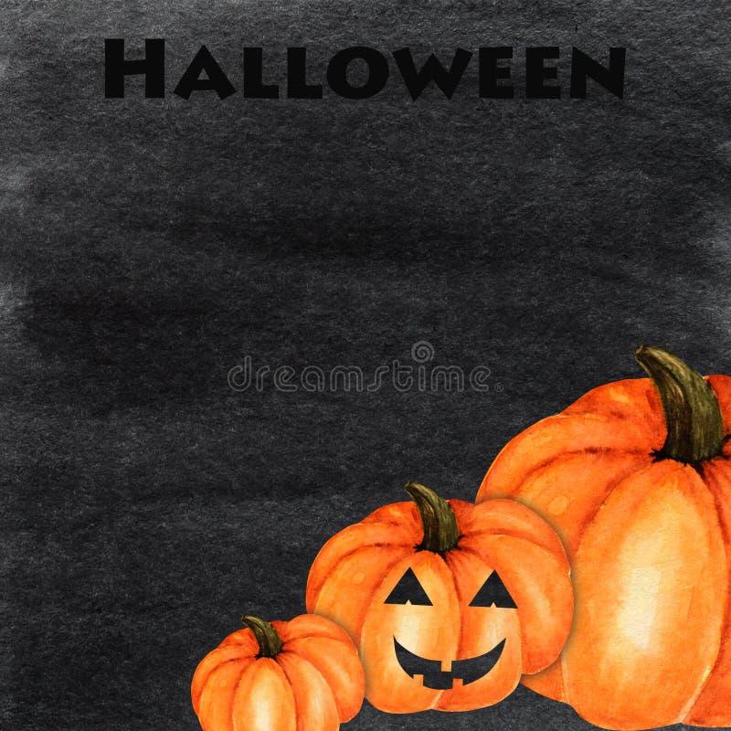 Halloween creepy pumpkin Watercolor hand painted abstract brush strokes pattern. Black background. Greeting card, poster. Halloween creepy pumpkin Watercolor royalty free illustration