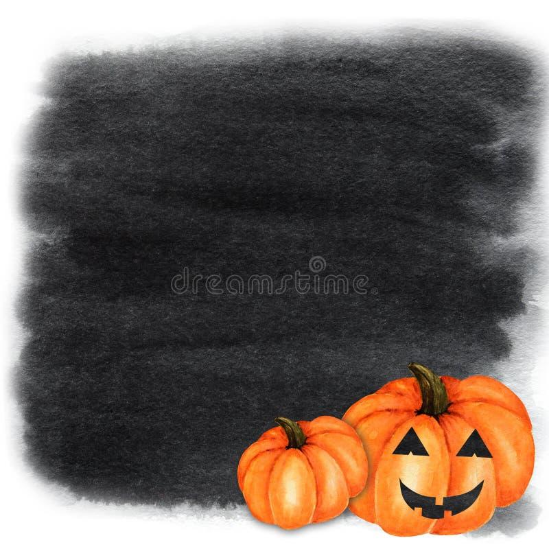 Halloween creepy pumpkin Watercolor hand painted abstract brush strokes pattern. Black background. Greeting card, poster. Halloween creepy pumpkin Watercolor stock illustration