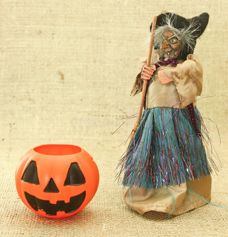Halloween Creepy Ugly Witches and Jack Lantern Pumpkin stock images