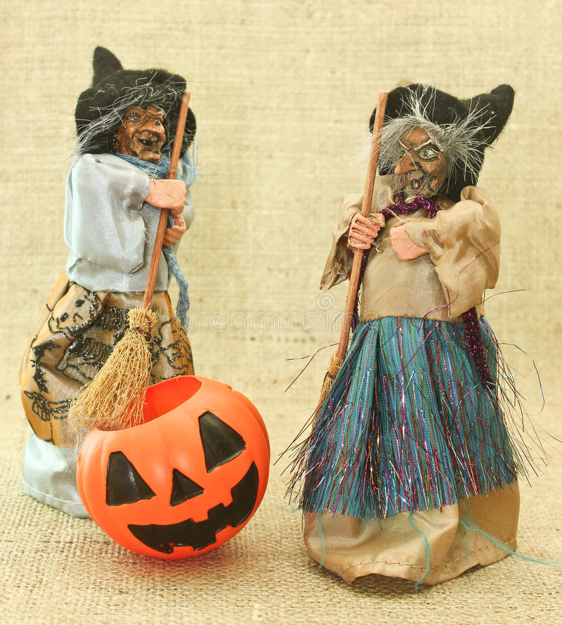 Halloween Creepy Ugly Witches and Jack Lantern Pumpkin stock photos