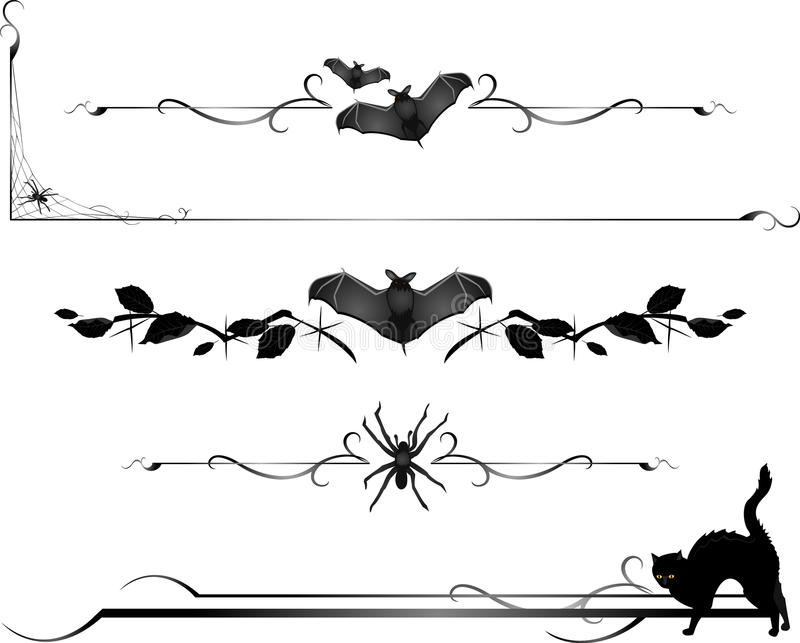 Halloween Critter Divider Lines Stock Images