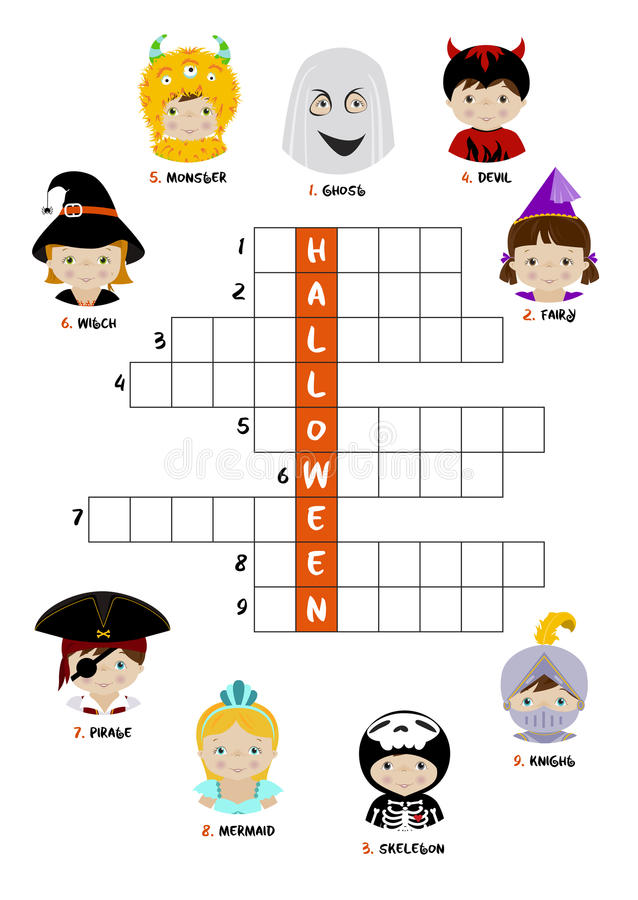 Halloween crossword puzzle for kids vector illustration
