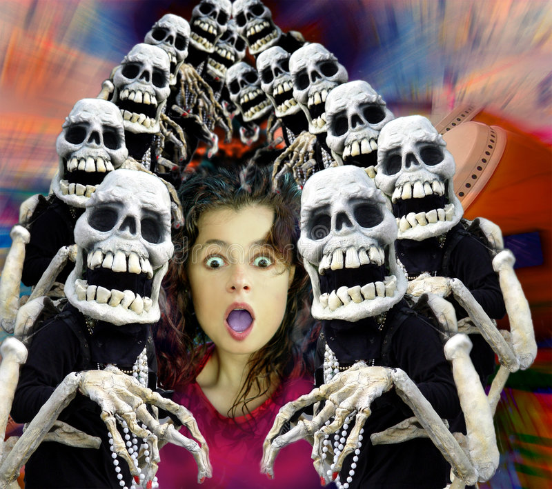 Halloween crowd. A terrified girl surrounded by skeletons. Computer generated image royalty free stock image