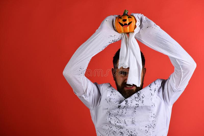 Halloween, culture and tradition concept. Man with smiling face stock image