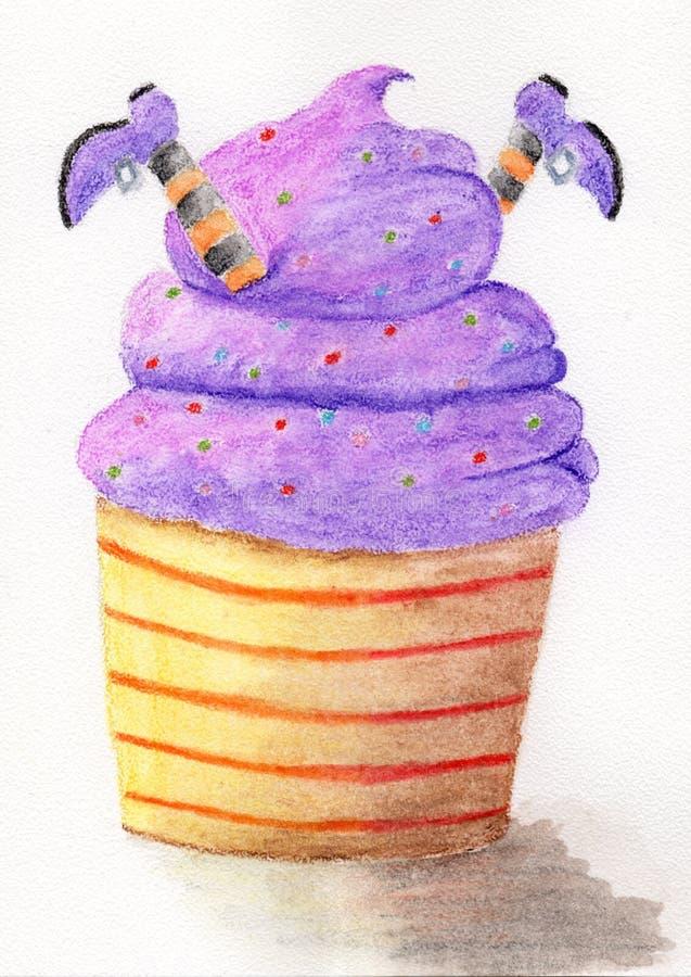 Halloween cupcake en heks stock illustratie