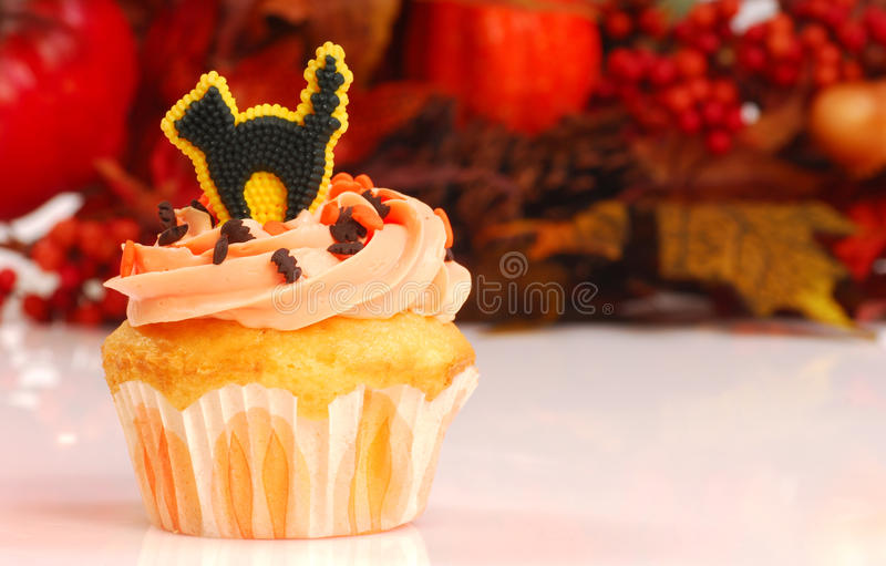 Download Halloween Cupcake With Fall Foliage Stock Image - Image: 16582239