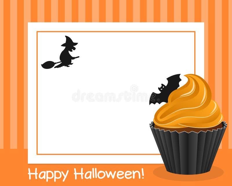 Halloween Cupcake Horizontal Frame [1]. Happy Halloween horizontal photo frame with a sweet cupcake, on orange background. Eps file available royalty free illustration
