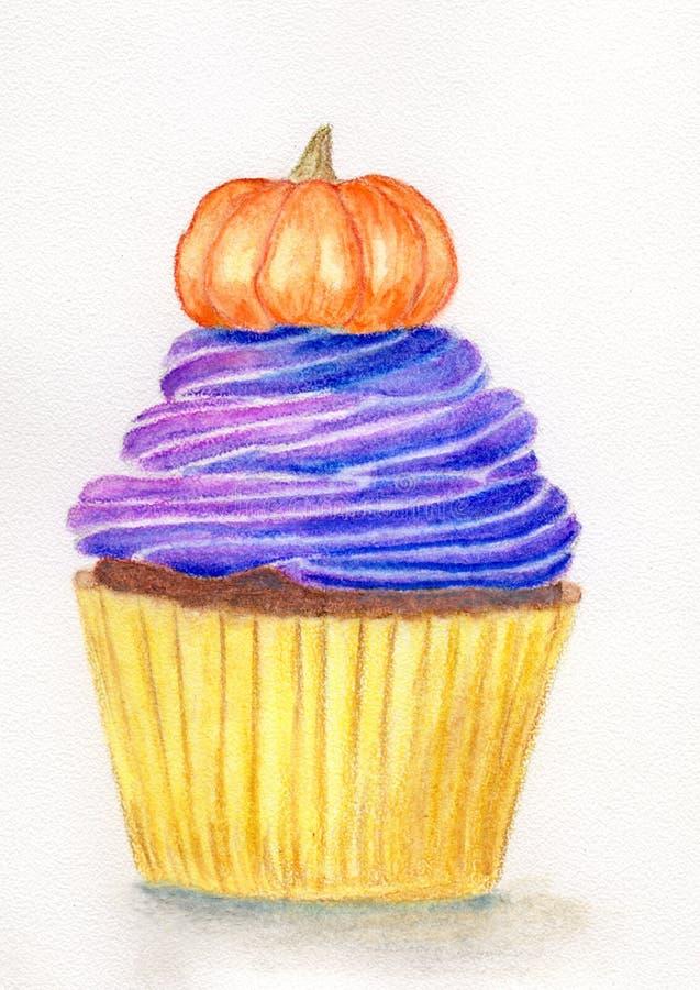 Halloween cupcake met pompoen stock illustratie