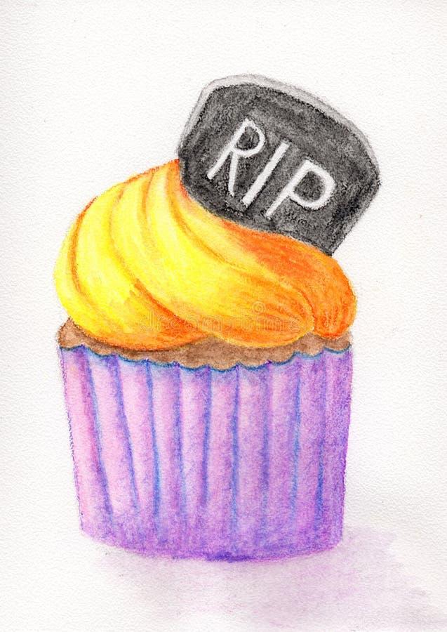 Halloween cupcake met room vector illustratie