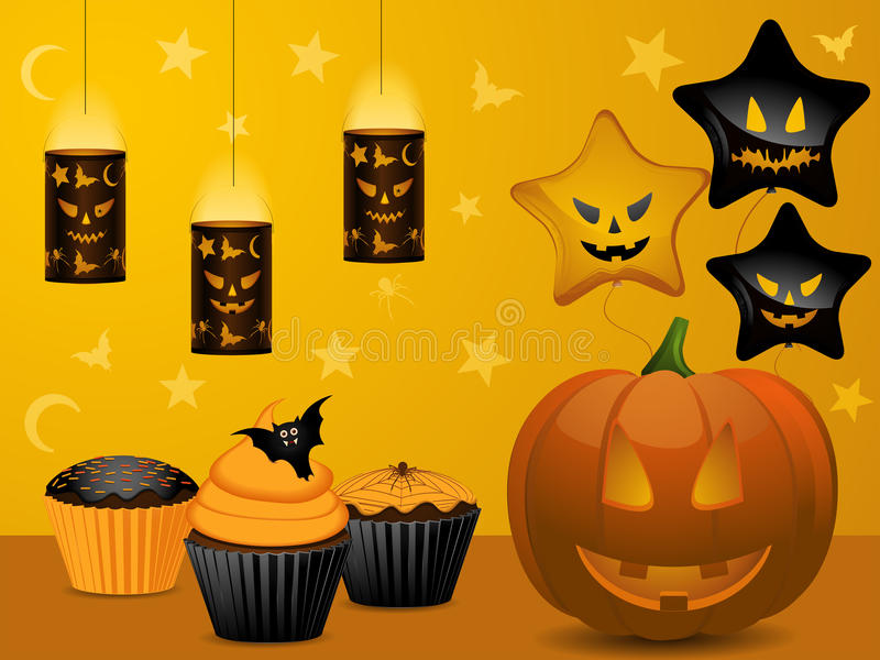 Halloween cupcake party background vector illustration