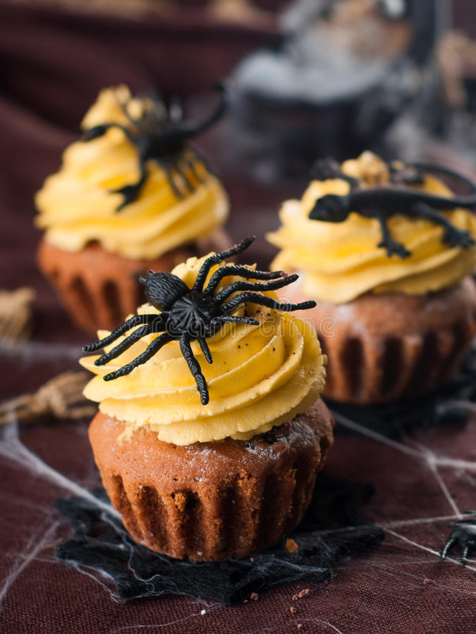 Halloween cupcake stock images