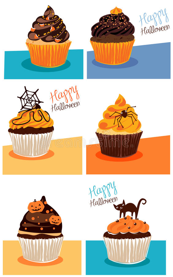 Halloween cupcakes. Illustration of delicious Halloween cupcakes stock illustration