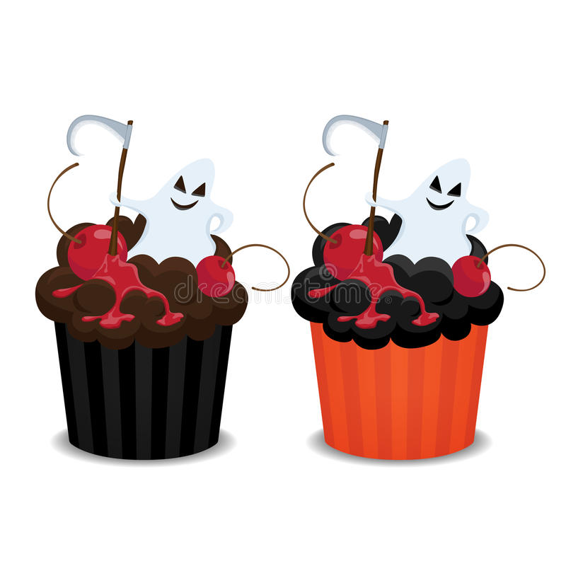 Halloween cupcakes. Halloween cupcakes with ghost and cherry. Cute cupcakes for the Halloween party, vector illustration vector illustration