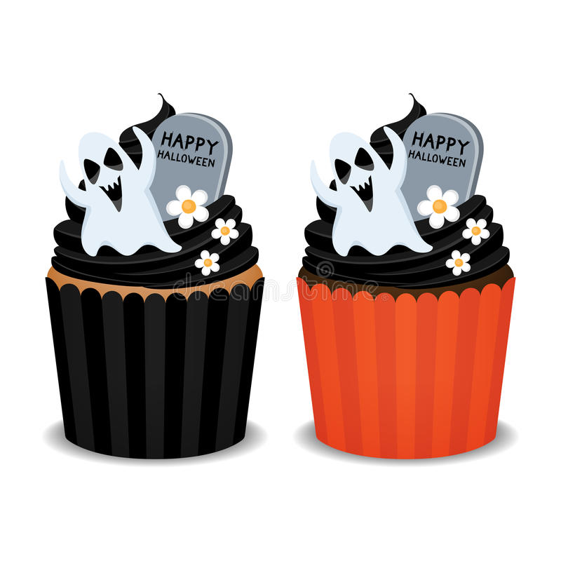 Halloween cupcakes. Halloween cupcakes with ghost and flowers. Cute cupcakes for the Halloween party, vector illustration vector illustration