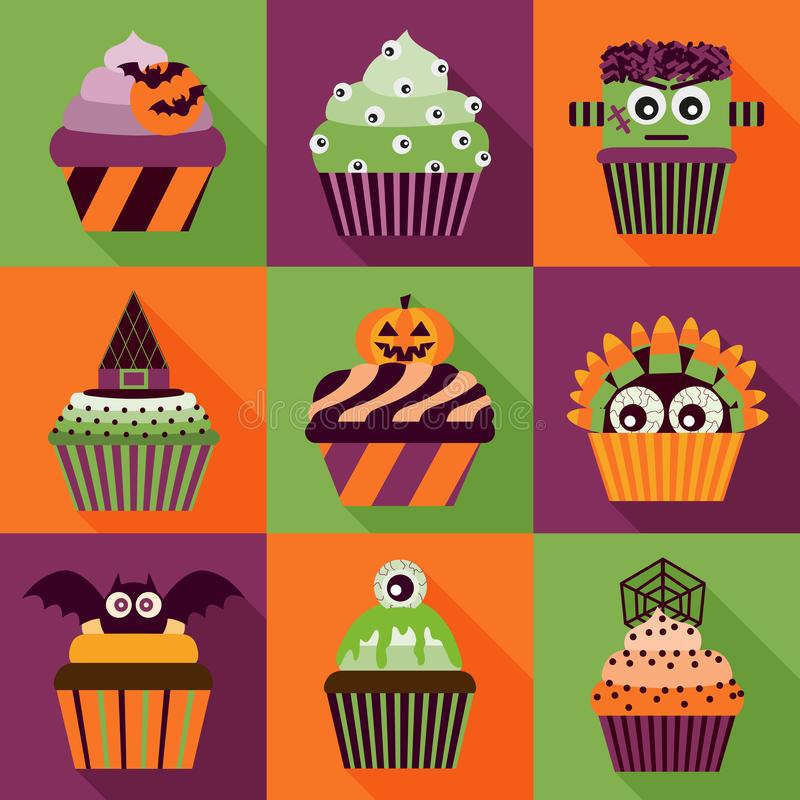 Free Halloween Cupcakes Long Shadow Icons Royalty Free Stock Photography - 120120757