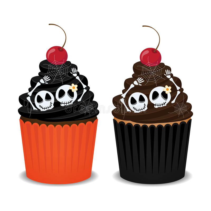Halloween cupcakes. Halloween cupcakes with skeleton, spider webs and cherry. Cute cupcakes for the Halloween party, vector illustration stock illustration