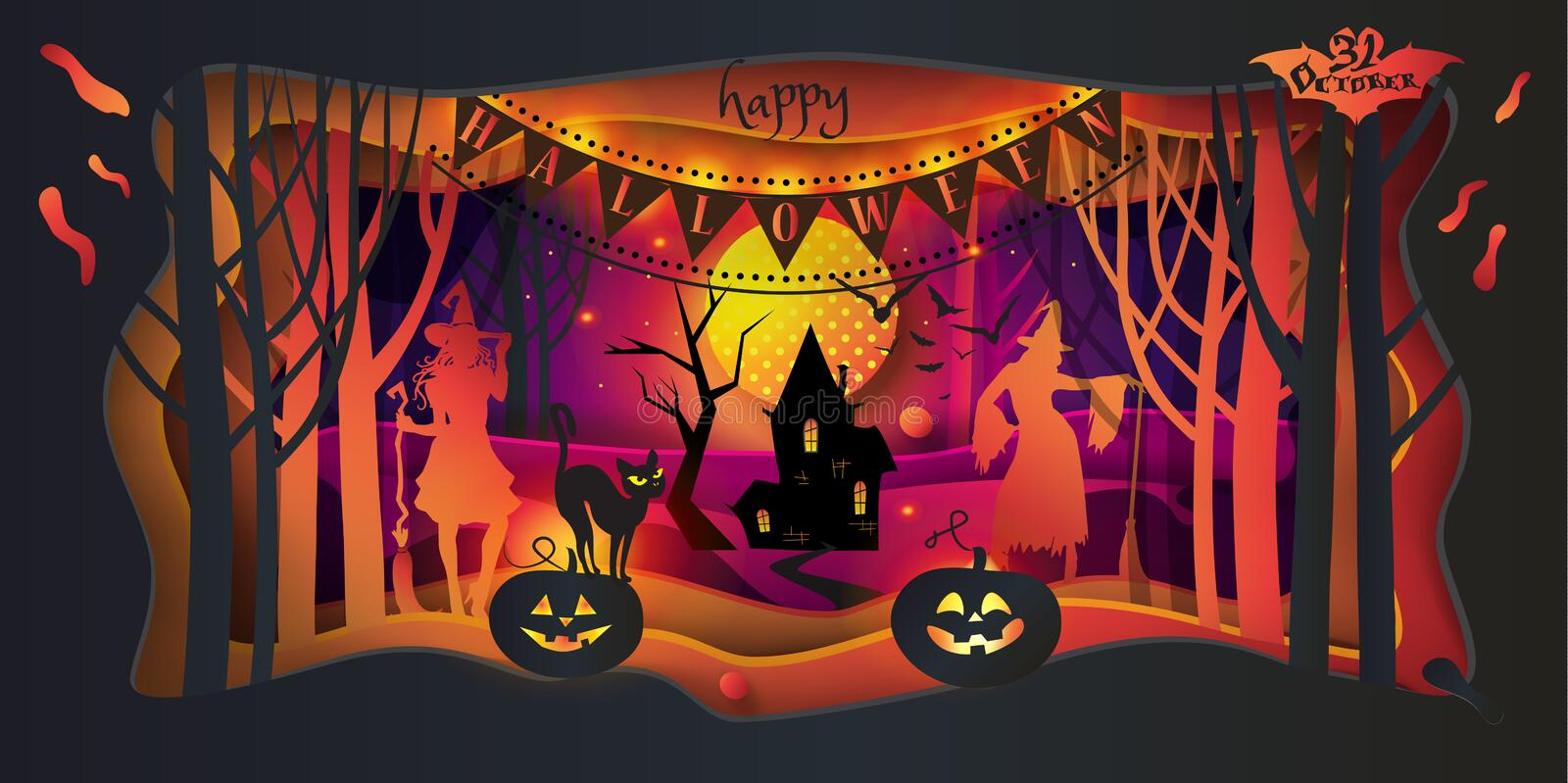 Happy Halloween trick or treat 31 october Party wallpaper stock illustration