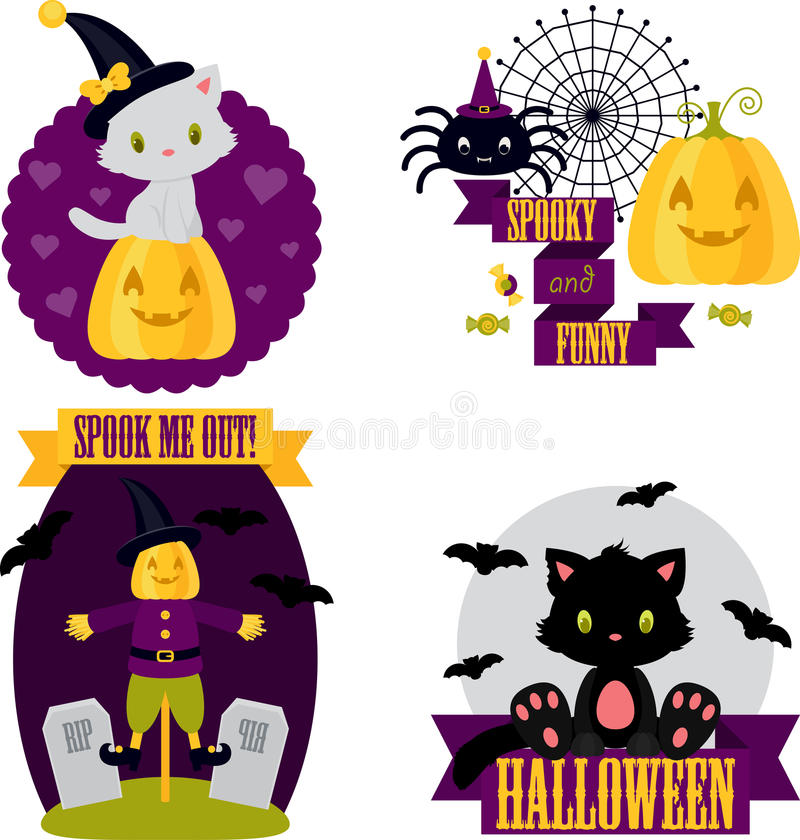 Halloween cute clip-art set royalty free illustration