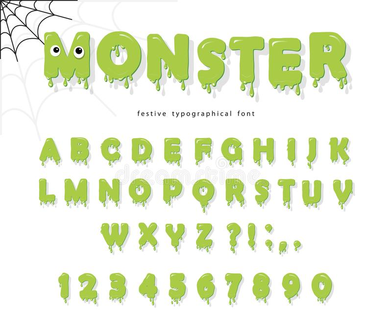 Halloween cute monster font for kids. Jelly slim green letters and numbers. stock illustration