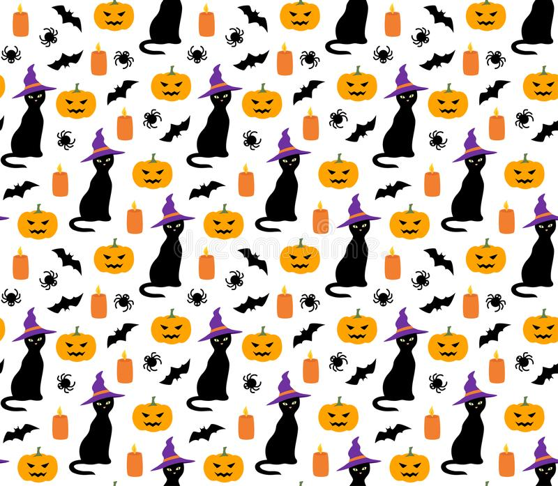 Halloween cute pattern with cat, pumpkin and bat vector. Seamless stock illustration