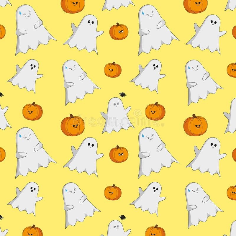 Halloween cute pattern with ghosts and pumpkins royalty free illustration