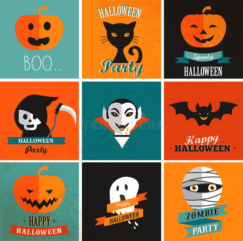 Halloween cute set of icons stock illustration